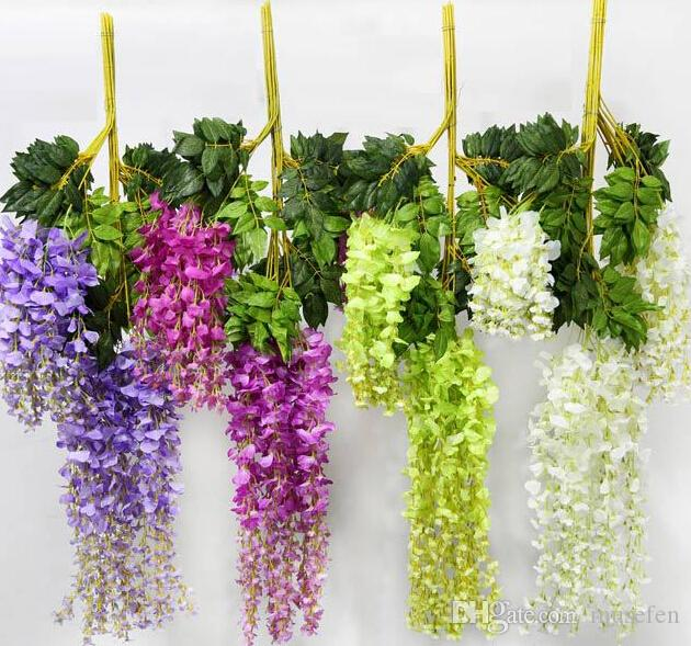 Realistic artificial fake wisteria silk flowers for garden floral realistic artificial fake wisteria silk flowers for garden floral decoration diy living room home party wedding decoration of house decoration of the house mightylinksfo
