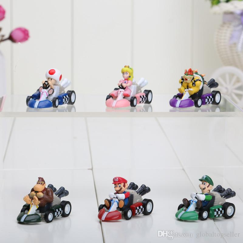 Super Mario Bros Kart Pull Back Car figure Toy Mario Brother Pullback Cars Dolls Christmas Toys