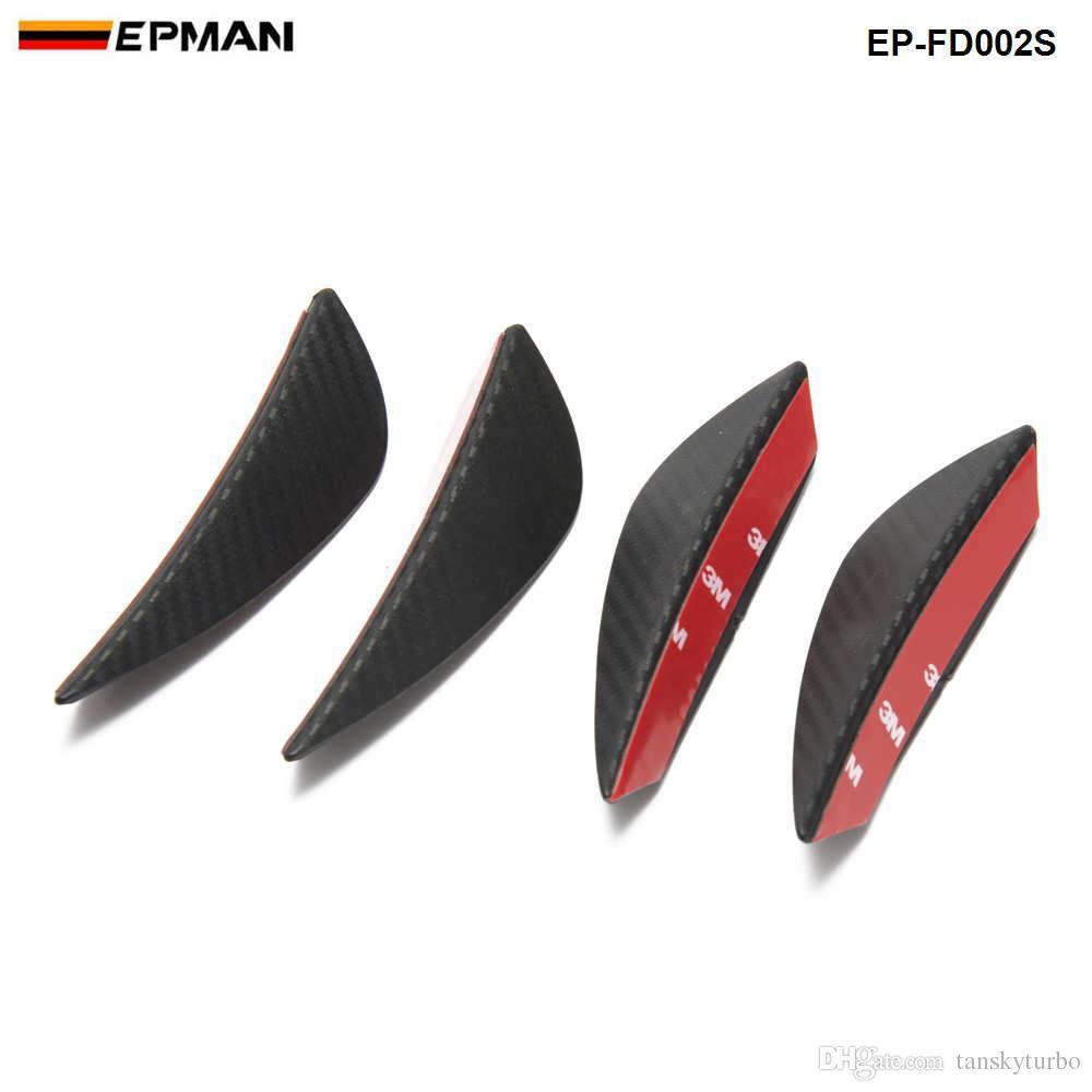 fibra ajuste universal del parachoques delantero del labio Splitter Aletas Cuerpo Alerón Canard Valence Chin carbono Color EP-FD002S