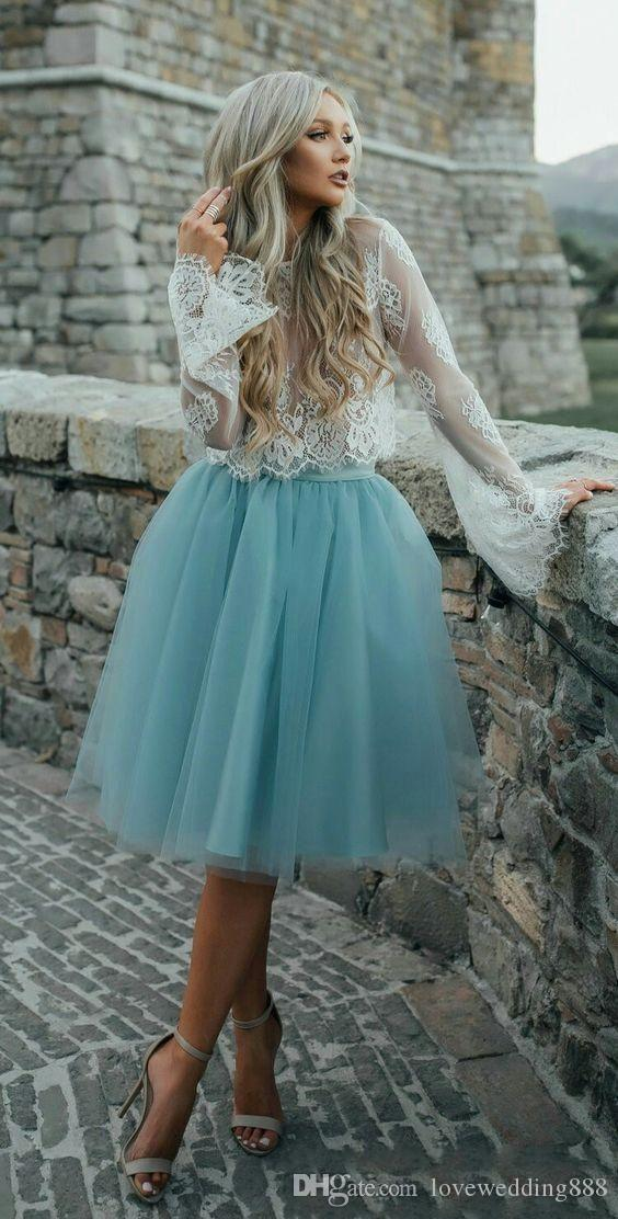 Cheap Two Pieces Prom Gowns Long Sleeves Tulle Shirt Lace Top Girls Holiday Homecoming Party Dresses 2020