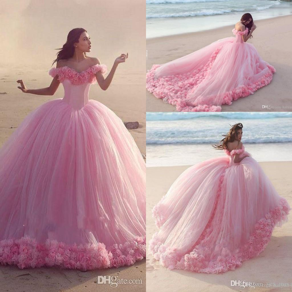 2016 New Pink Quinceanera Ball Gown Dresses Off Shoulder