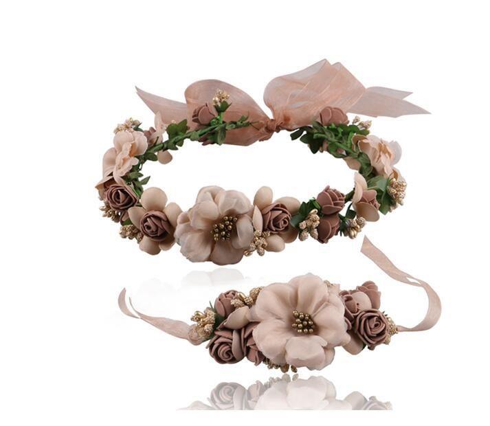 Свадьба оголовье запястье цветы ленты регулируемые ободки Boho цветочные Корона подарок невесты аксессуары для волос девушка ребенок венок декор