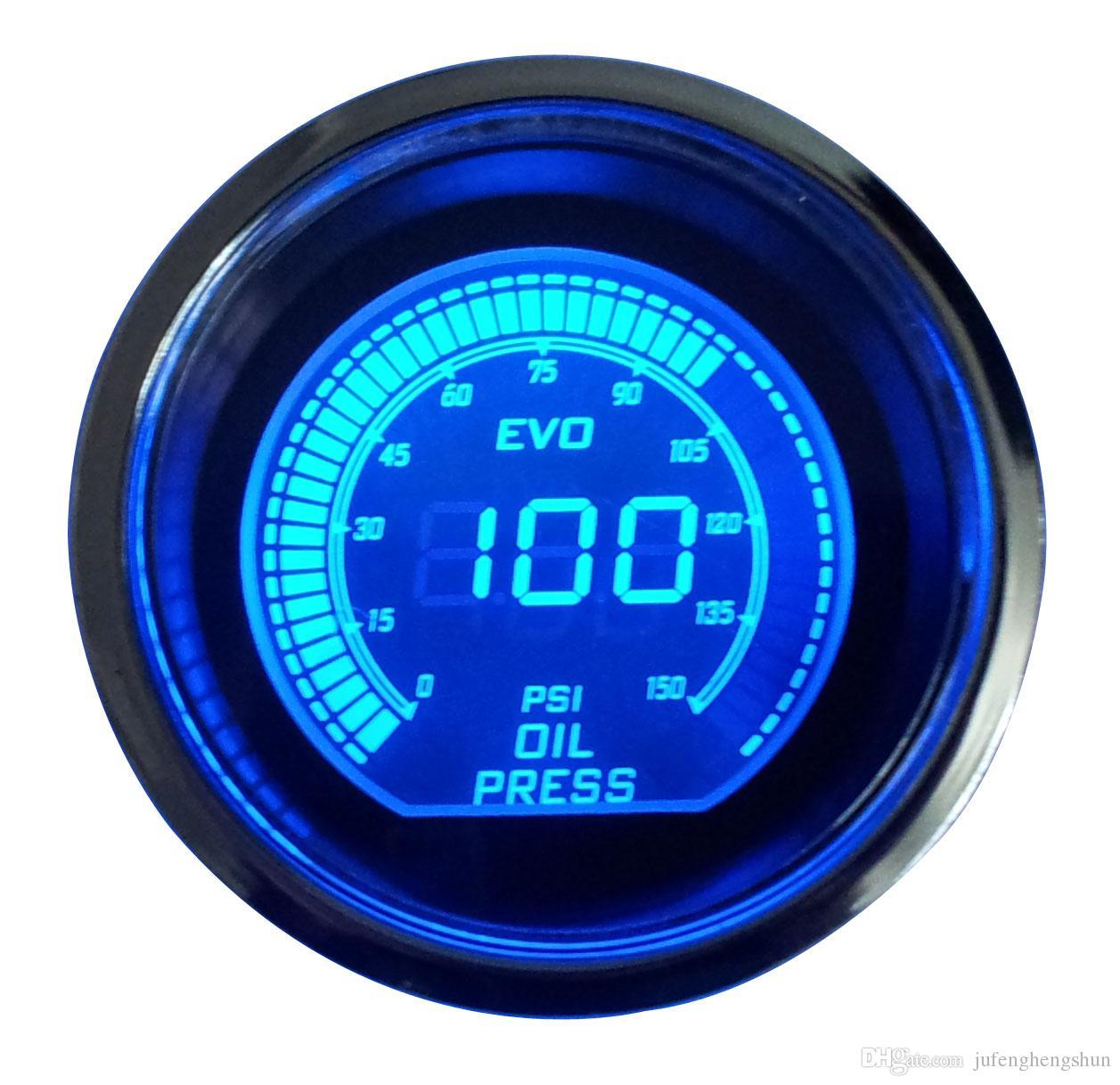 Sıcak 2 inç 52mm Yağ Basınç Göstergesi 12 V Mavi Kırmızı LED Işık Tonu Lens LCD Ekran Araba Dijital Metre Siyah Evrensel