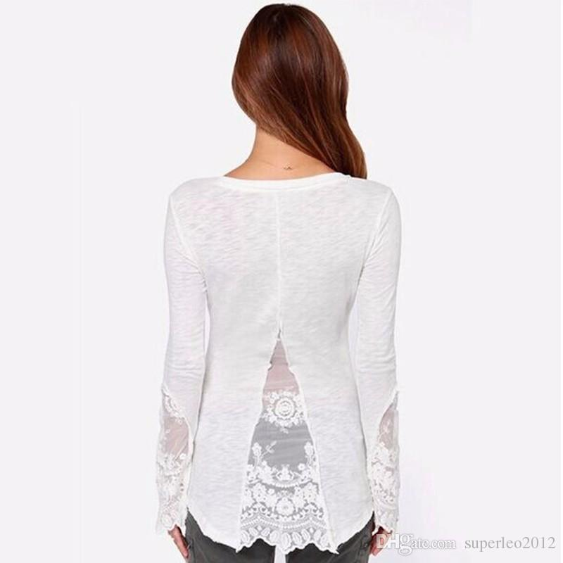 Women Casual Long Sleeve T Shirt Lace Patchwork Blouse Solid O-Neck Cotton Button Cllosure T-shirt Casual Style Tops Tees Blusas YG-w2064