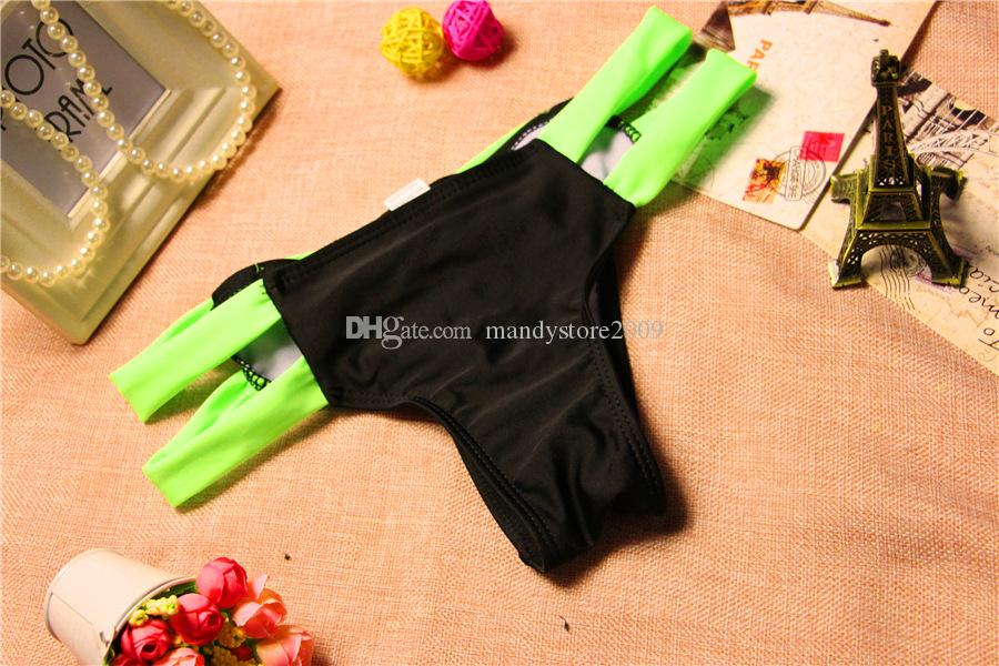 2016 New Bow Thong 수영복 분리 여성 수영복 붕대 수영복 Brazilian Tanga Bikini Bottom Tanga 수영복 매듭