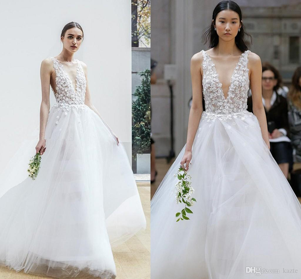 Discount Romantic 3D Flora Appliques Open V Back Wedding Dresses 2018 Oscar  De La Renta Bridal Sleeveless Deep V Neck A Line Chapel Train Tulle Skirt  Custom ... f1c2baf82f0e
