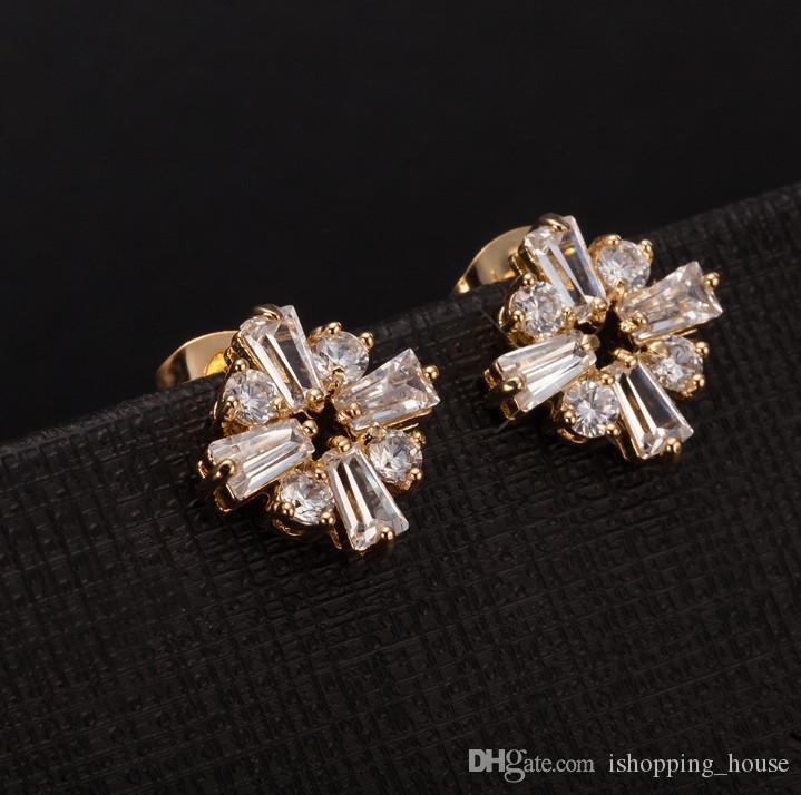 2016 Die meisten Mode Dessing Weißer Kristall Gold Überzogene Quadratische Blume Clip Hoop Ohrringe Schmuck Für Mädchen Für Weihnachten Für Party