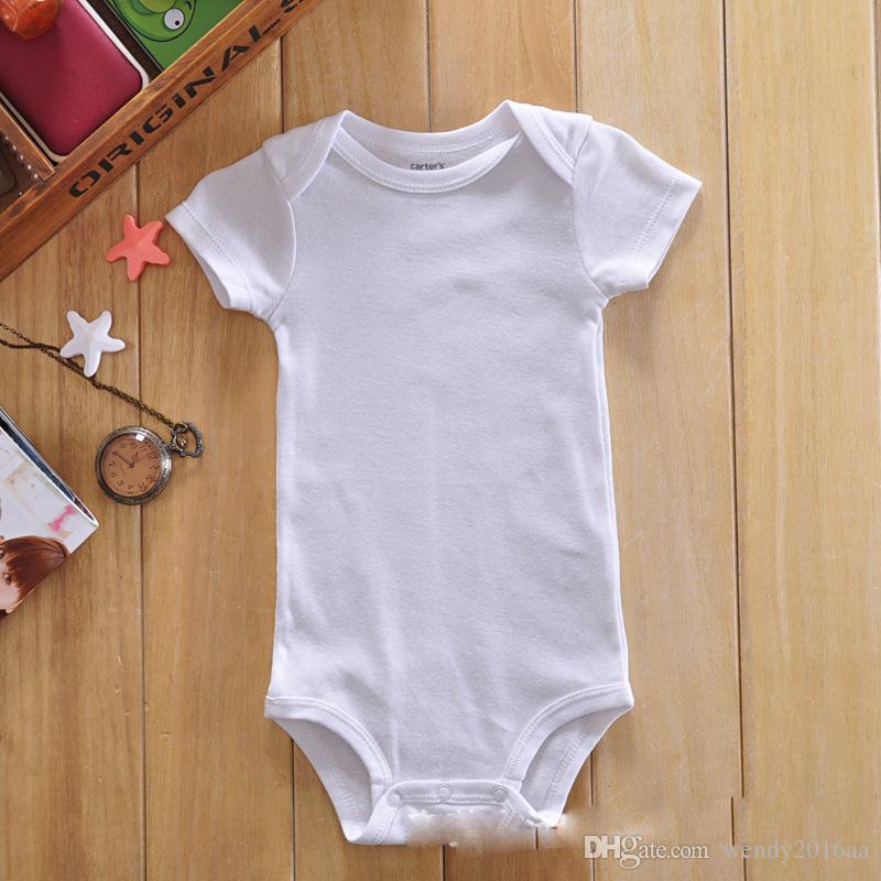 CheapPagliaccetti del bambino vestito estate infantile triangolo pagliaccetto Onesies 100% cotone maniche corte neonati vestiti bianco puro il ragazzo girlbestgift