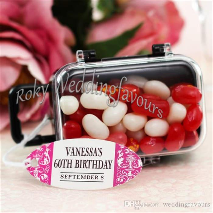 Clear Mini Rolling Travel Suitcase Favor Box Wedding Favors Party Reception Candy Package Baby Shower Ideas