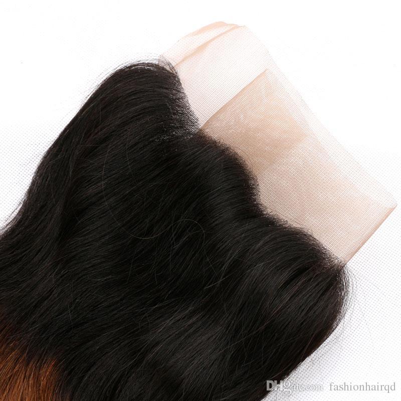 Ombre Dantel Frontal Kapatma Demetleri T1b / 4/27 Üç Ton Ile Brezilyalı Vücut Dalga Virgin İnsan Saç Örgüleri Kulak Dantel Kapatma
