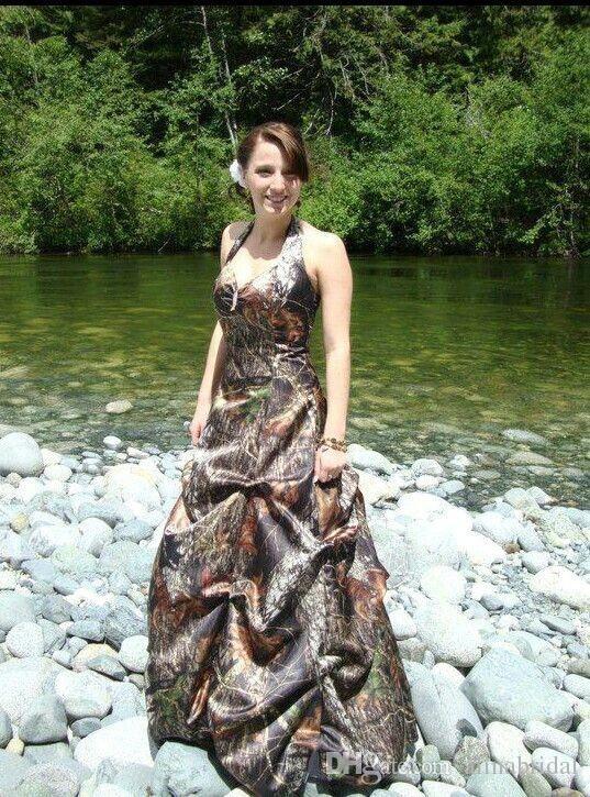 Fashin Camo Brautkleider mit drapiertem Halfter zurück Schnürsenkel plus size Garden Voll Bridal Rode de Mariage