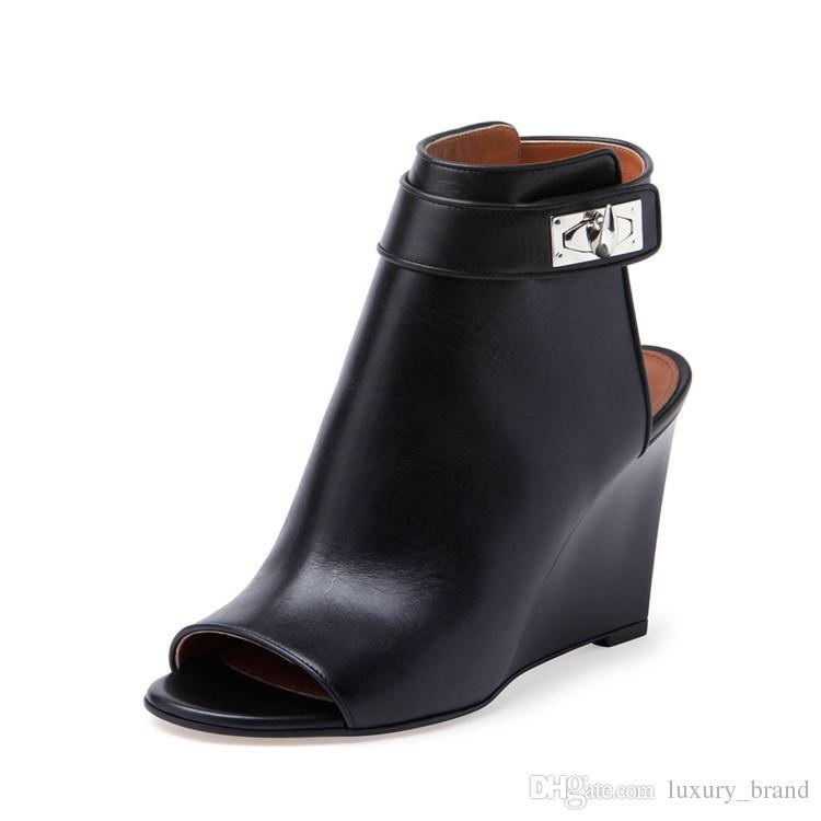 buy online 8b34e acd43 Calde donne estive zeppe nere sandali donna stile regina sandali unici  donne sexy sandalo in vera pelle da ufficio