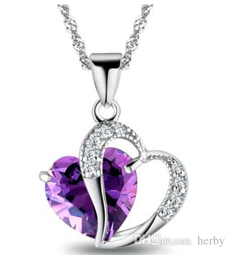 Top Fashion Class Necklace Women Girls Lady Doble Corazón Cristal Amethyst NecklacePendants Fine Jewerly 9 Colores