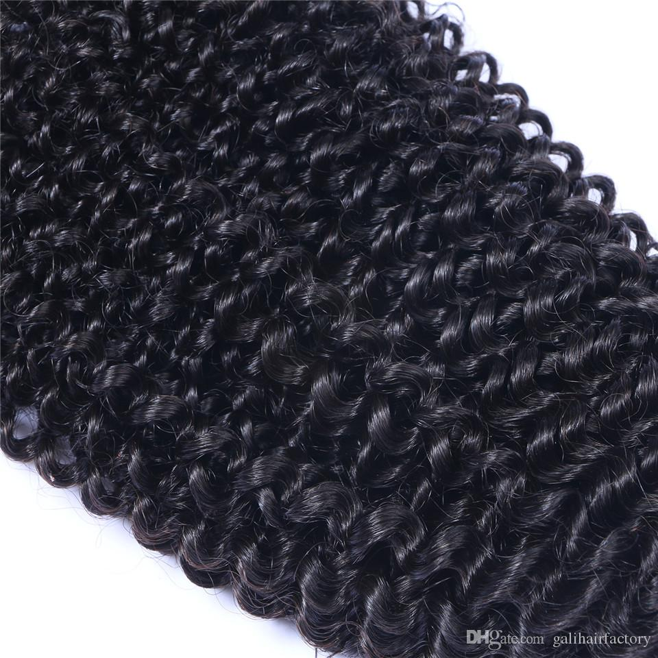 Barato Kinky Curly 8A Malaio Não Transformados Cabelo Humano Weave Cor Natural Feixes de Cabelo 4 pçs / lote 8-30 polegada em Estoque DHL Frete Grátis