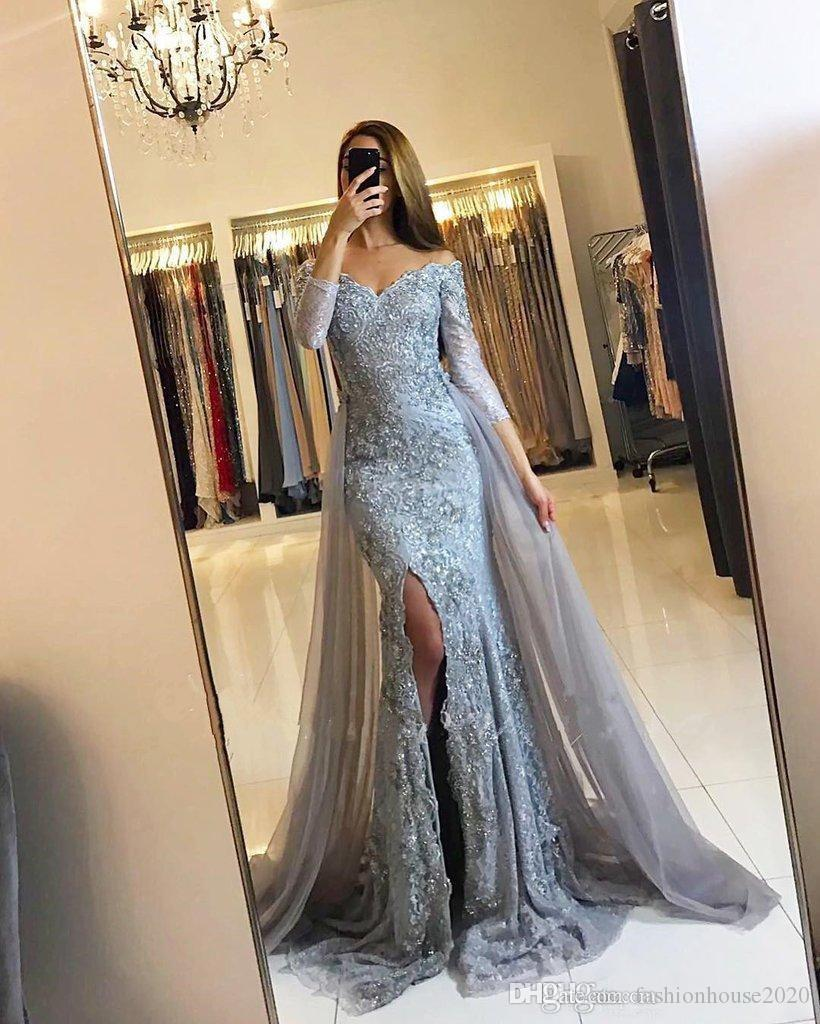 Evening Dresses Wear 2018 New Silver Gray Off Shoulder Lace Appliques  Beaded Tulle Split Long Sleeves Illusion Party Dress Formal Prom Gowns  Evening Dresses ... ef2bb3086a19