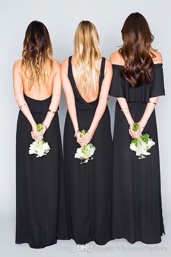 Lado divisão A linha vestidos de dama de honra 2017 Mint Chiffon Sexy Backless misto estilo solto Wedding Guest Dress V profundo longo vestidos de dama de honra