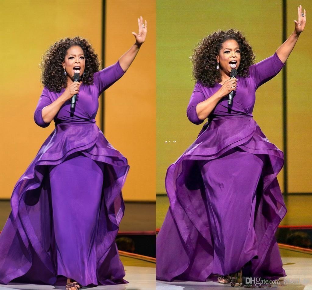 Oprah Winfrey Evening Dresses Sheath Celebrity Gowns Middle East Dubai Arabic Style Purple Evening Party Dress Formal Plus Size Women Wear