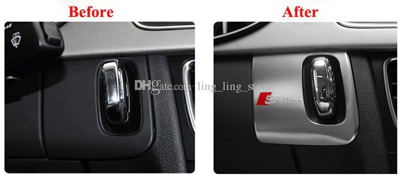 [LHD] Yeni Tasarım Araba Styling Paslanmaz Çelik Sticker Araba Anahtarı Delik Dekorasyon Sticker Için Audi A4 B8 2009-2015 A5 S5