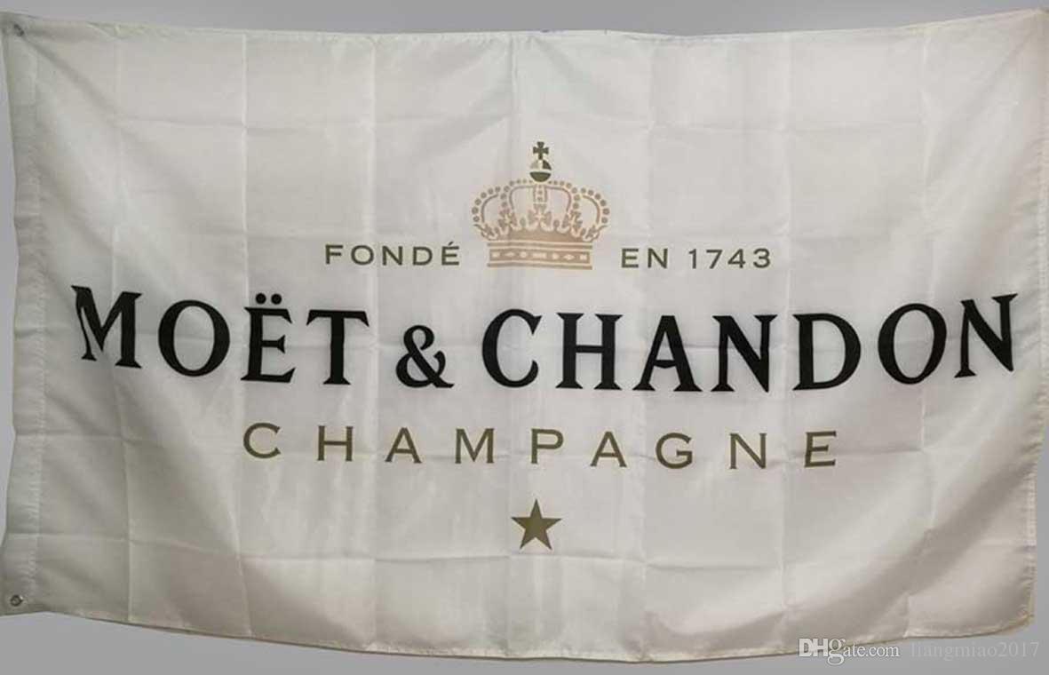 Özel Beyaz Bayrak Afiş Moet Chandon Şampanya için 3x5 ft Polyester Yüksek Kaliteli Bar Afiş