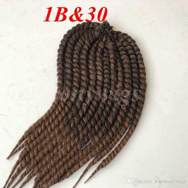 Kanekalon الاصطناعية تجديل الشعر هافانا مامبو تطور الكروشيه 110 جرام 18 بوصة واحدة أومبير لون الضفائر جامبو الشعر ملحقات أكثر الألوان
