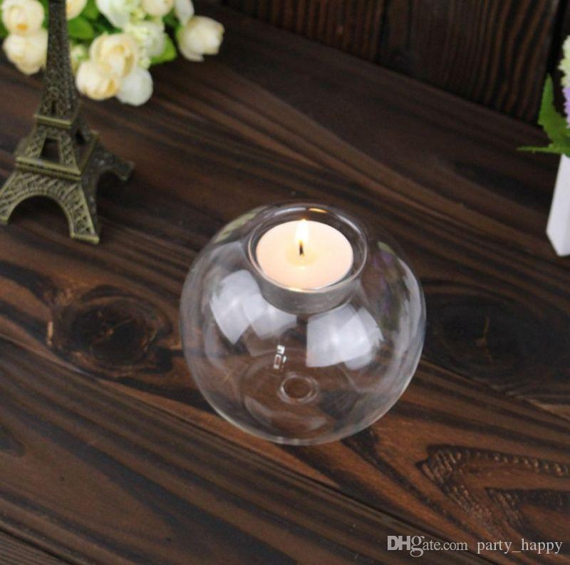 Crystal Glass Candle Holder Romantic Wedding Bar Party Home Decor Candlestick European-Style Candlelight Creative Tealight Votive Holder