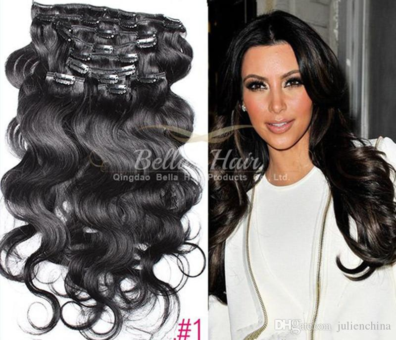 Brazilian Human Hair Clip In Hair Extensions 115g12ed Clip In