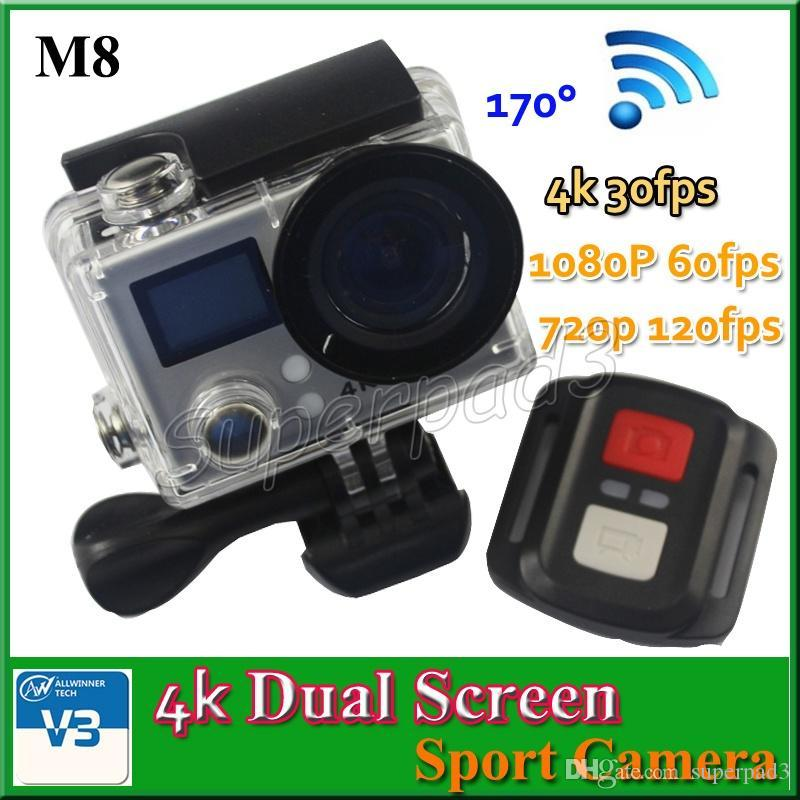 M8 Allwinner V3 Dual Screen 4K Video 170° Action Camera 1080p FHD 720p 120fps HDMI WiFi Camera Car Recorder Waterproof Diving Sports Camera