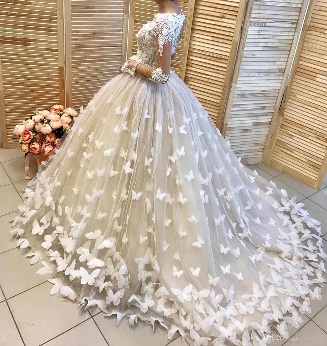 Butterfly Wedding Gown: Amazing Butterfly Ball Gown Long Sleeves Wedding Dress