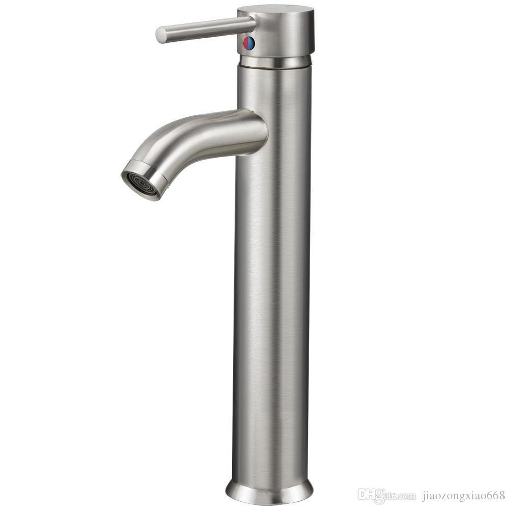 12 Modern Bathroom Lavatory Vessel Sink Faucet Brushed Nickel Single ...