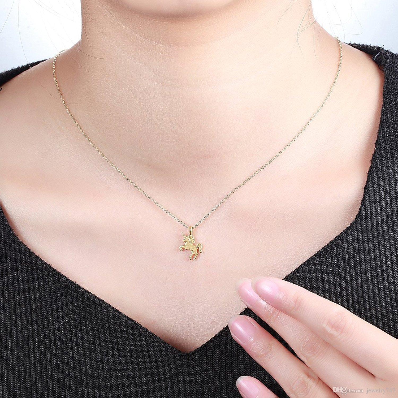 Anhänger Halsketten Schmuck für Frauen Gold Silber Lucky Unicorn Clavicle Halskette mit Karte Tier Legierung Anhänger
