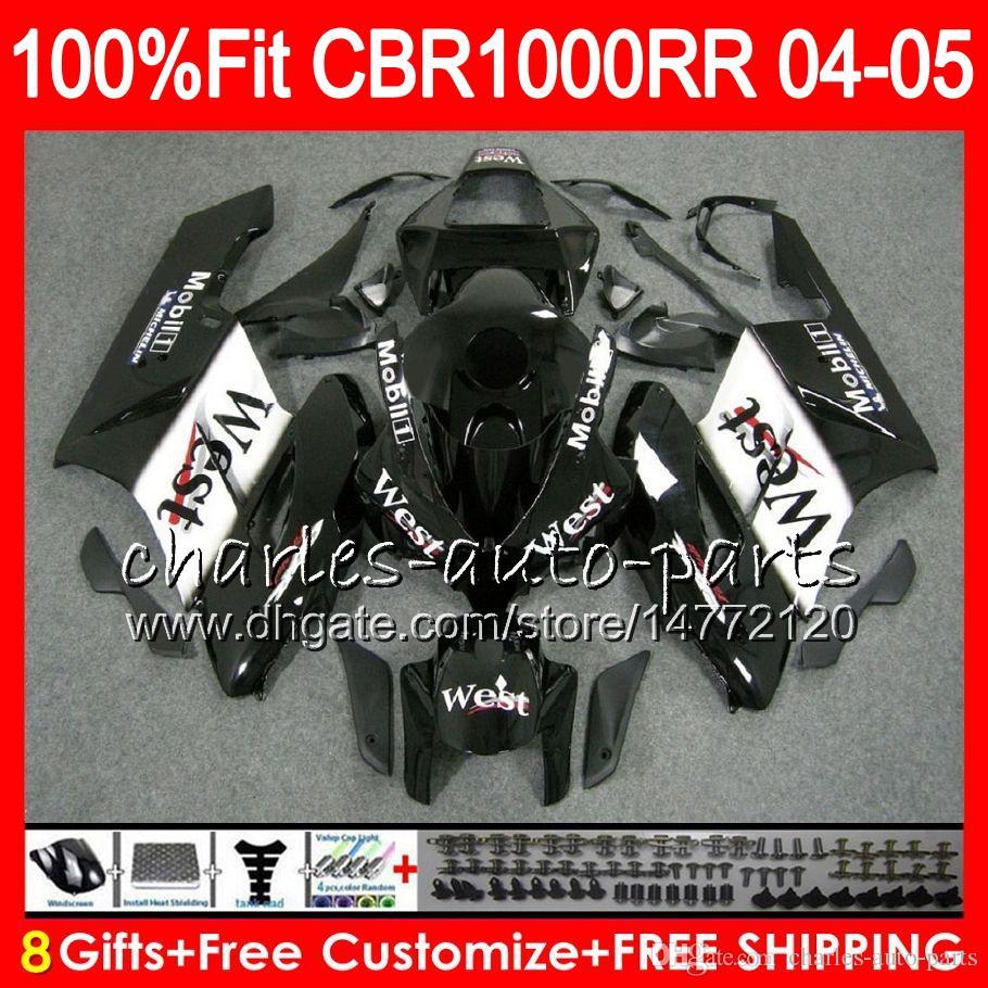 Corps d'injection noir ouest pour HONDA CBR 1000RR 04 05 Carrosserie CBR 1000 RR 79HM22 CBR1000RR 04 05 CBR1000 RR 2004 2005 Kit de carénage 100% Fit