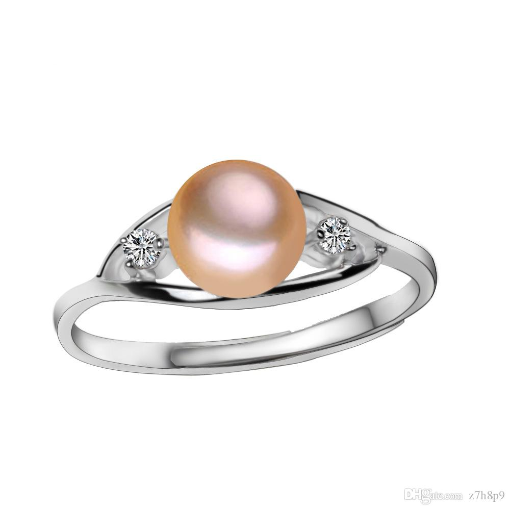2019 6 7mm Women Vintage Jewelry Natural Freshwater Cultured Pearl Wedding Ring Trendy Luxury Beautiful Rings From Z7h8p9: Beautiful Pearl Wedding Rings At Websimilar.org