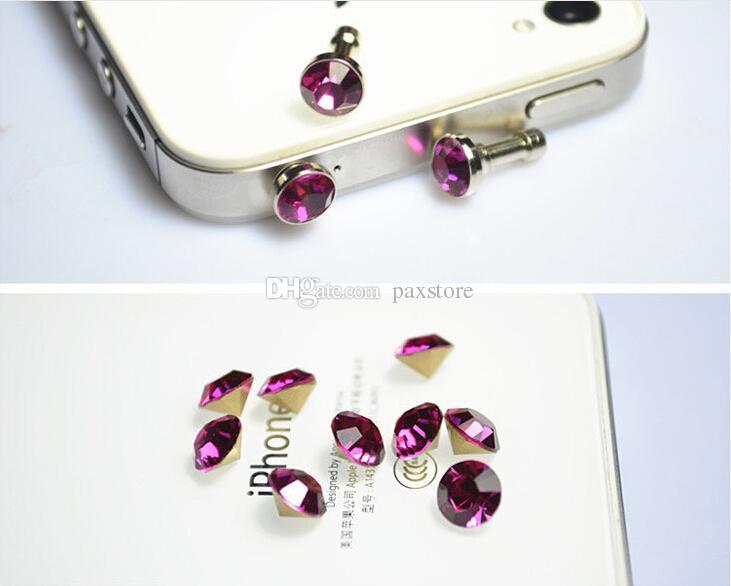 Cell Phone Anti Dust Plug Dustproof Crystal Diamond 3.5mm Earphone Jack Plug for Smartphone Headset Headphone WHOLESALE
