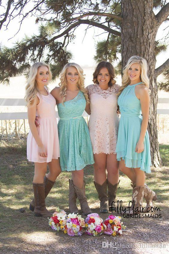 Light Pink Blue Short Lace Bridesmaid Dresses A Line