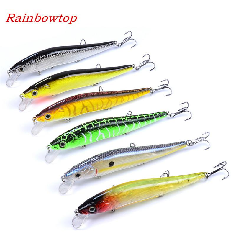Hot-selling 3D Minnow Pencil Fishing Lures 12cm 14.5g 6colors 6#hooks ABS plastic hard Bait wobble fishing swimbaits