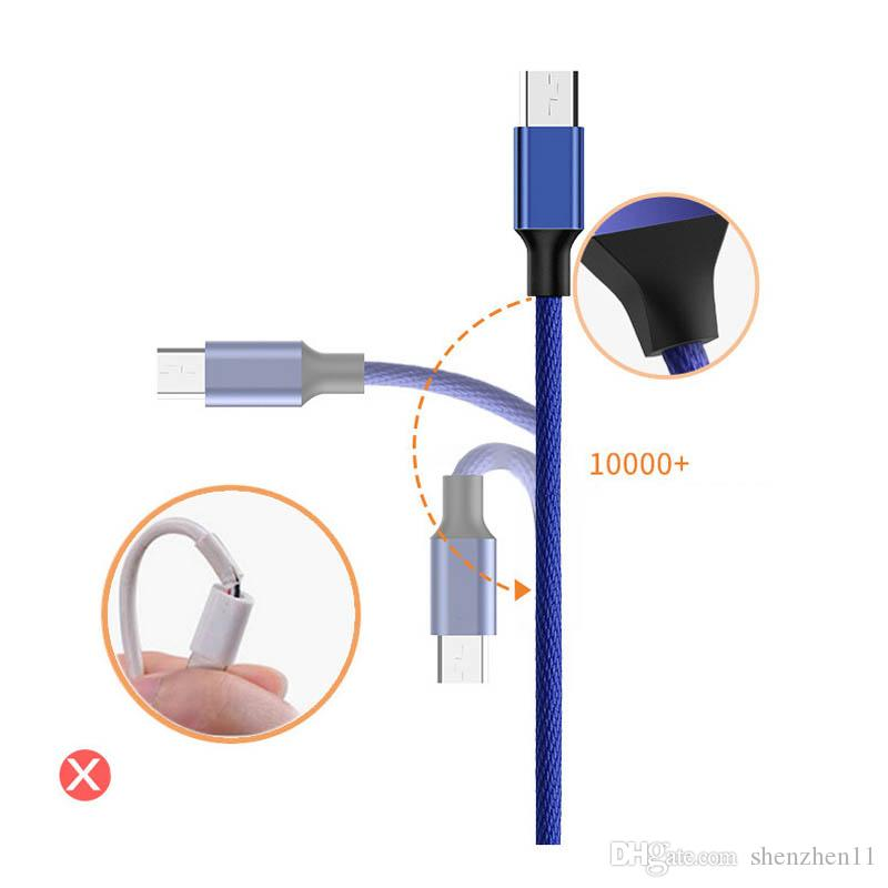 type c Micro Câble USB Aluminium Nylon Tressé Sync Câble rapide de charge rapide transfert du cordon en tissu tissage Silky fil CAB193