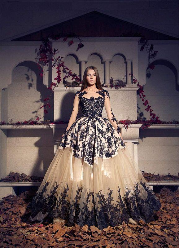 2016 Arabic Trend Ball Gown Evening Dresses Black Lace Prom Dress Champagne Tulle Appliques Arabian Dubai Long Sleeve Red Capet Dresses