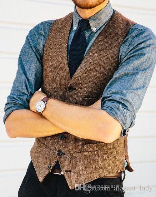 Gilet in tweed a spina di pesce in lana marrone Gilet da uomo slim Gilet da uomo su misura senza maniche Giacca da uomo Gilet da sposa