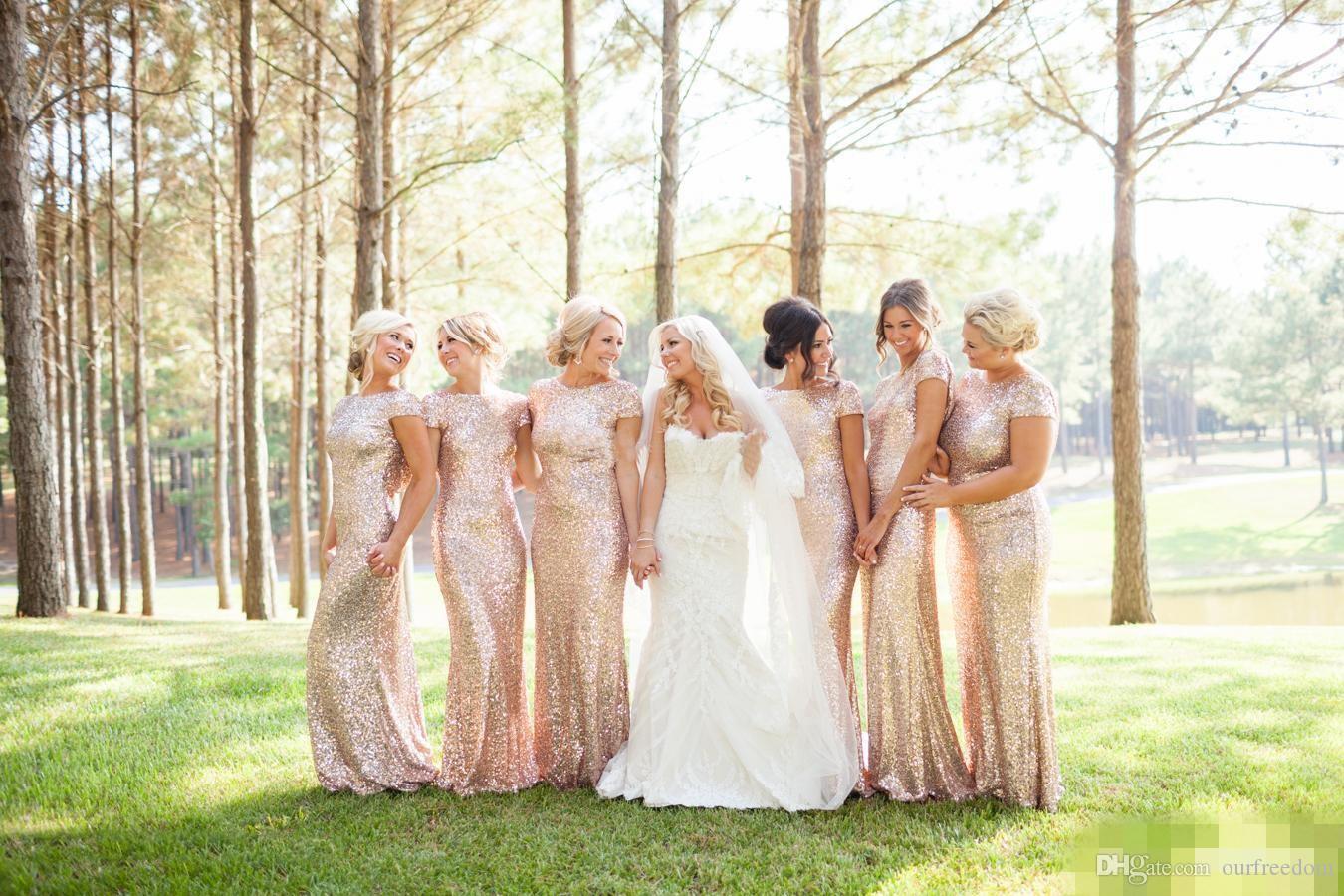 本物のキラキラローズゴールド安い人魚の花嫁介添人ドレス2019半袖スパンコール背景ロングレスビーチウェディングパーティーガウンゴールドシャンパン
