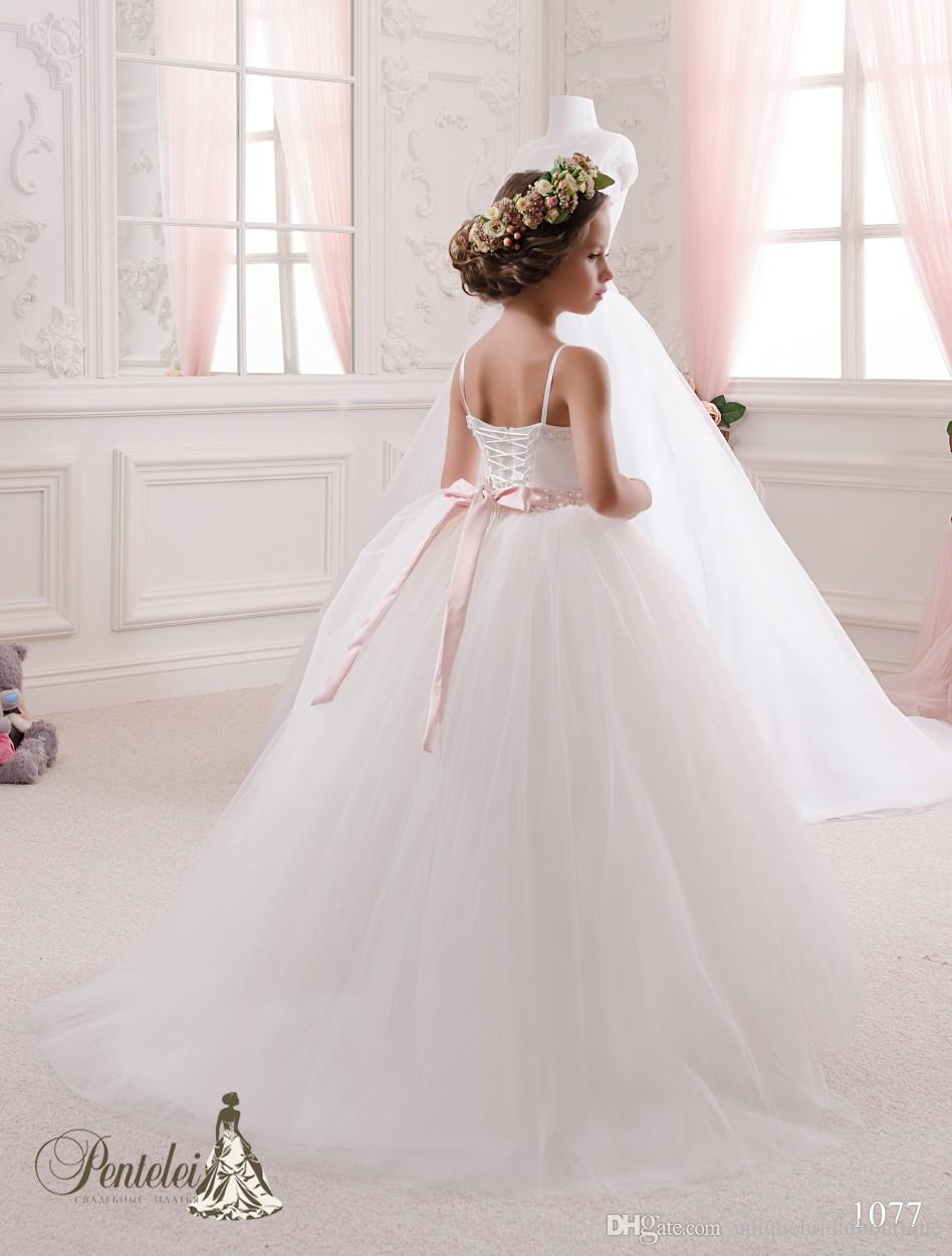 2016 Girls Communion Dresses with Spaghetti Neckline and Beaded Sash Pleated Tulle Ballgown Little Bride Gowns with Lace Up Back