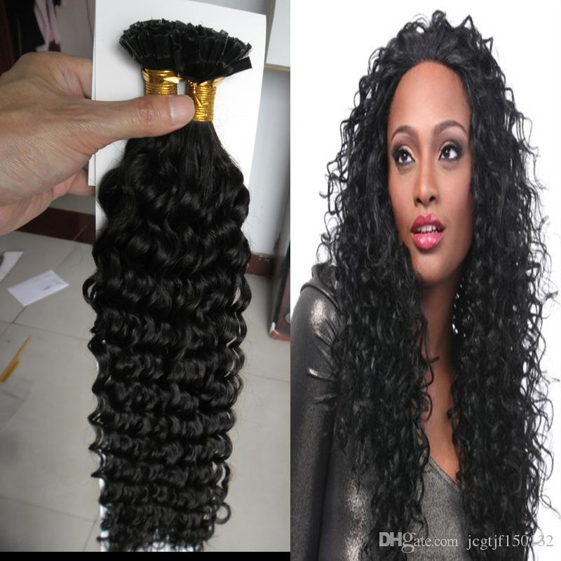 U Tip Kinky Curly Brazilian Hair Extensions Keratin Pre Bonded Nail