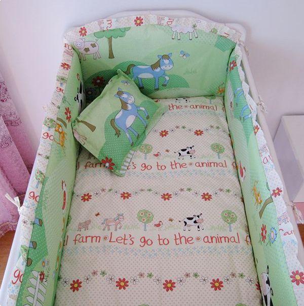 Promotion! Cartoon Cotton Baby Bedding Set Cartoon Animals Crib Bedding curtain crib bumper,include4bumpers+sheet+pillowcase