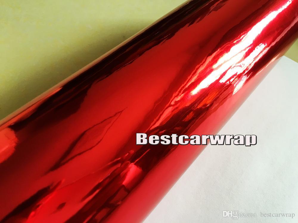 Premium Chrome czerwony błyszczący winylowy winyl z uwalnianiem powietrza. Wysokowy rozciągliwy Red Chrome Lustro Folia Wrap 3,52x20m / Roll 5x66ft