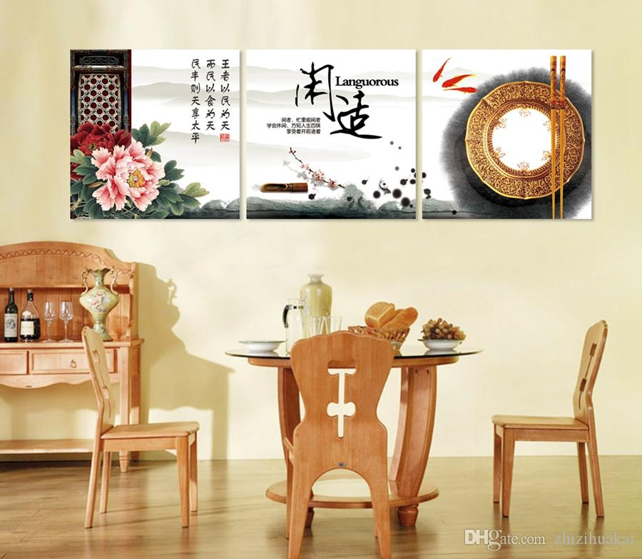 unframed Home decoration Canvas Prints Yellow leaves chinese characters chopsticks tree autumn chair fish flower