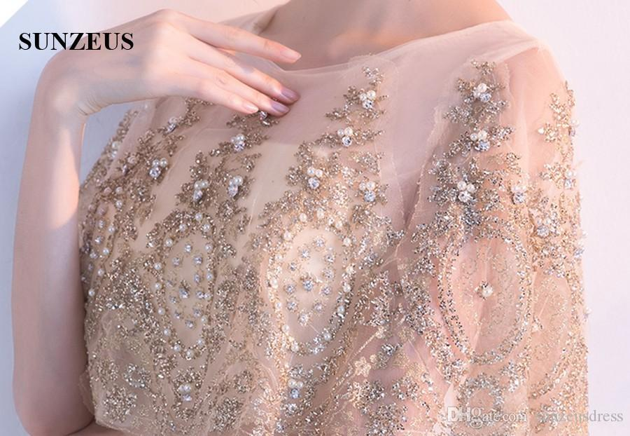2017 Fall New Long Champagne Evening Dress With Gold Appliques Crystal Pearls Beaded Formal Dress With Cape Wrap Party Gowns
