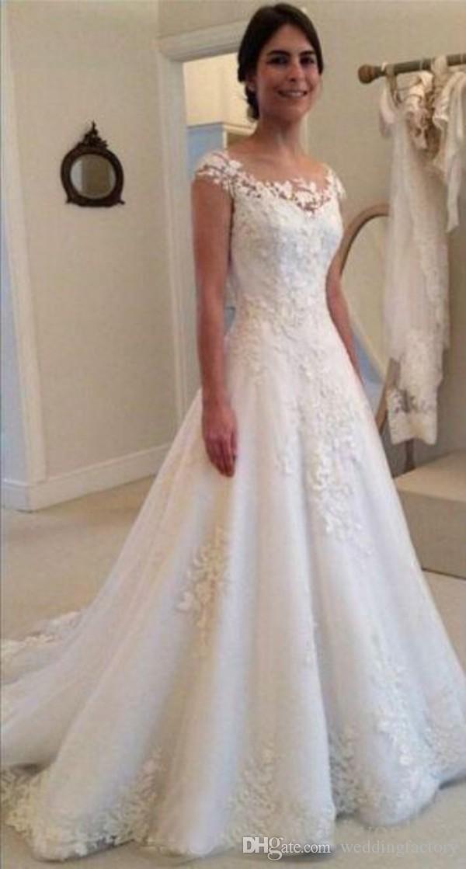 Prinses Arabische trouwjurk Sheer Bateau halslijn afgedekte mouwen illusie rugkant applicaties bruidsjurken Sweep Train