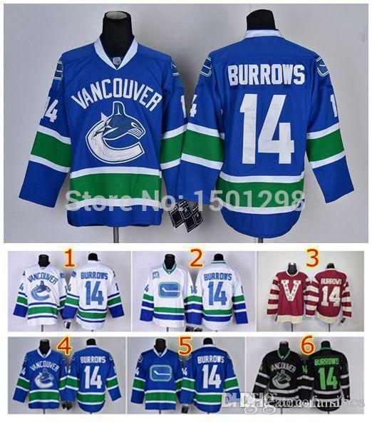 1f05935544d ... 2017 2016 14 Alexandre Burrows Ice Hockey Jerseys Vancouver Canucks  Jersey Home Blue 40th White Black 2017 Mens ...