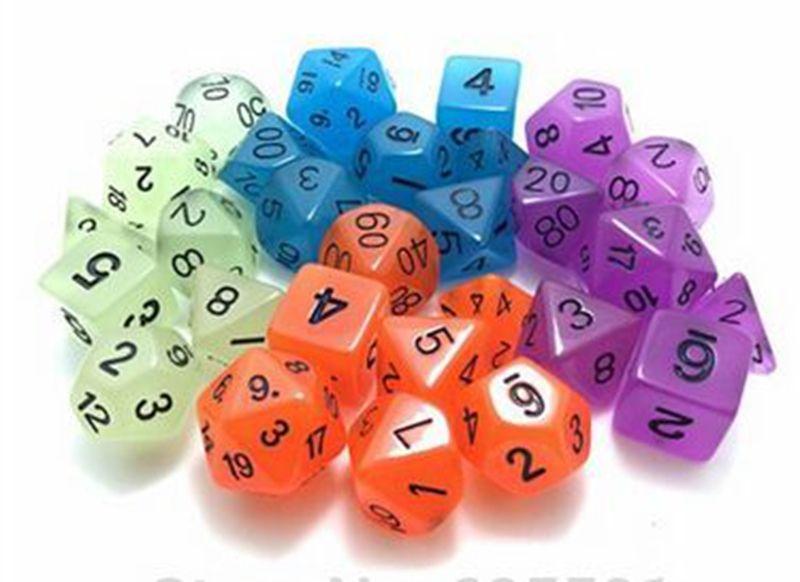 Luminous Polyhedral Dice Set Dungeons And Dragons Glowing Sets Dices D4 D6 D8 D12 D20 D10 0-9 D10 00-90 RPG #D4