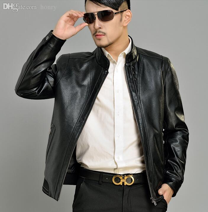 52013316cf3c Fall-Autumn black business stand collar PU leather jacket high quality  casual mens faux leather jackets and coats coat big size 4XL