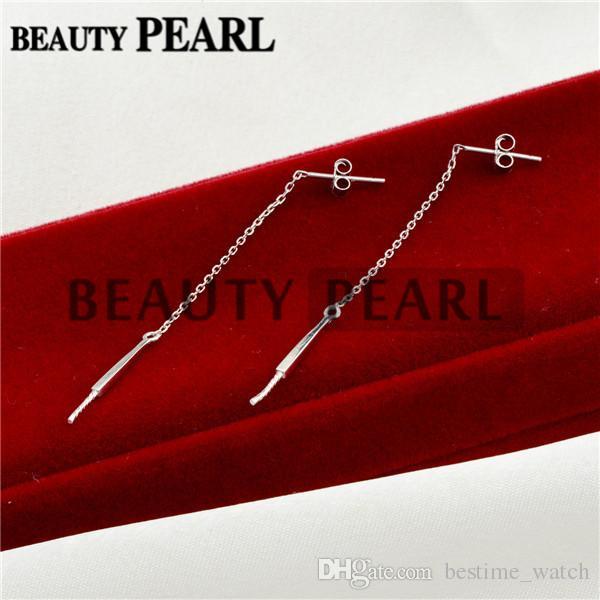 Bulk of Pearl Drop Earring Mountings Threader 925 Sterling Silver Dangle Chain Earring Blanks